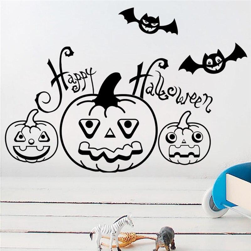 cartoon pumpkin bat halloween wall stickers for kids rooms home decor 20 30cm wall decals vinyl mural art diy wallpaper in Wall Stickers from Home Garden