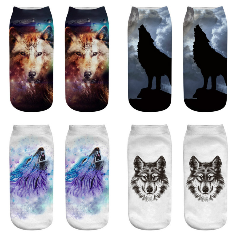 2019 Women Socks Cute Casual Cotton Socks 3D Wolf Head Print Medium Sports Socks Comfortable Funny Kawail Breathable Skarpet