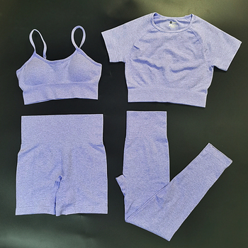 4PCS Seamles Sport Set Women Purple Two 2 Piece Crop Top T-shirt Bra Legging Sportsuit Workout Outfit Fitness Wear Yoga Gym Sets 22