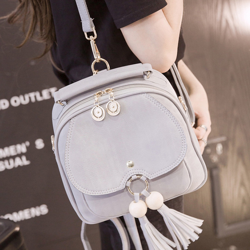 Women Small Backpack Ladies Casual Leather Shoulder Bags Zipper Grils Mini Backpack with Tassel Pack Bag 2019 New Female mochila in Backpacks from Luggage Bags