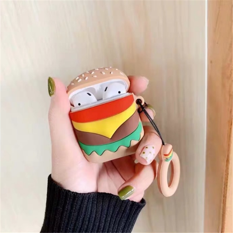 Wireless Bluetooth Earphone Case For Airpods Protective Cases Silicone Headset Case Hamburger Charging Headphones Cover