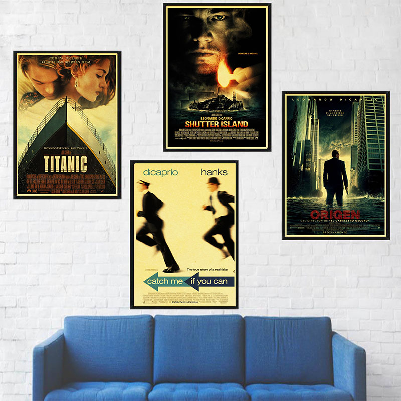 <font><b>Leonardo</b></font> <font><b>DiCaprio</b></font> Classic Movie TITANIC THE REVENANT BLOOD DIAMOND Retro Poster Home Room Wall <font><b>Painting</b></font> Home Decoration image