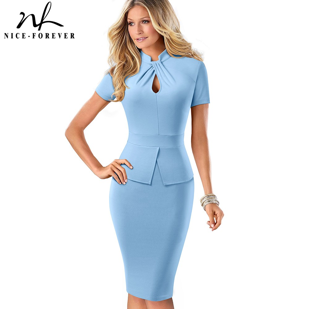 Nice-forever Elegant Solid Color Peplum With Knot Work Vestidos Business Party Bodycon Slim Women Dress B581