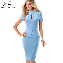 Nice forever Elegant Solid Color Peplum with Knot Work vestidos Business Party Bodycon Slim Women Dress B581