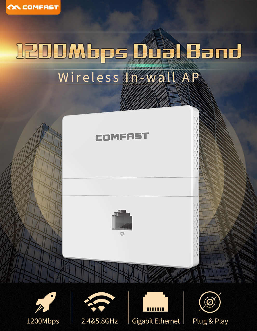 1200mbps sem fio banda dupla na parede ap 2.4 + 5.8 ghz gigabit ethernet ponto de acesso 802.11 ac hotel casa rj45 lan roteador repetidor