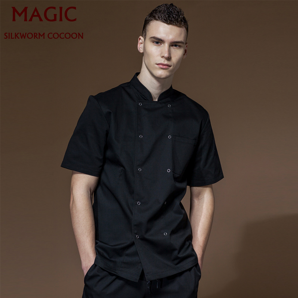 Black Cook Short Sleeve Unisex Work Uniforms Restaurant Hotel BBQ Kitchen High Quality Workwear Clothing Food Service Chef Tops