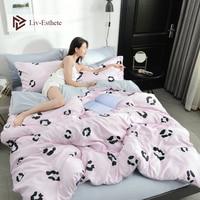 Liv Esthete Luxury 100% Silk Fashion Leopard Pink Bedding Set Silky Duvet Cover Flat Sheet Bed Linen Set Single Double Wholesale