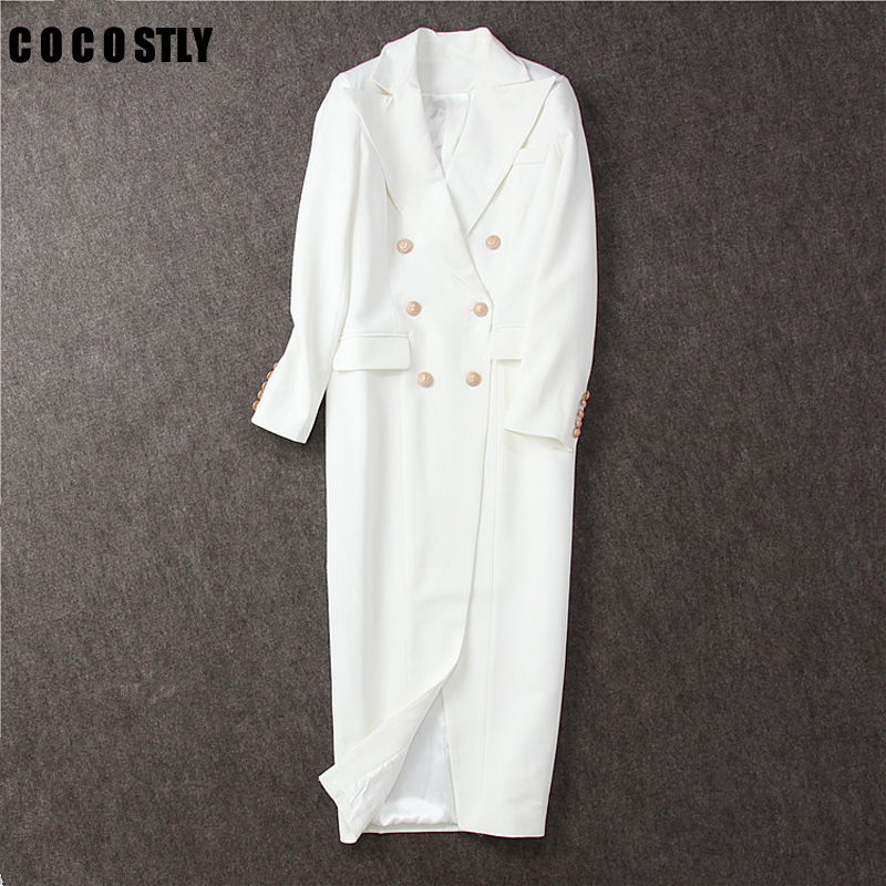 2020 New Autumn Sexy Slit White Long Blazer Women Double Breasted Gold Color Button Long Sleeve Fitted Suit Jacket Dresses