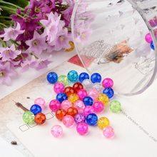 50-400 pces 4mm/6mm/8mm/10mm cor misturada redonda crackle grânulos de vidro fios grânulos de jóias para diy descobertas de jóias fazendo