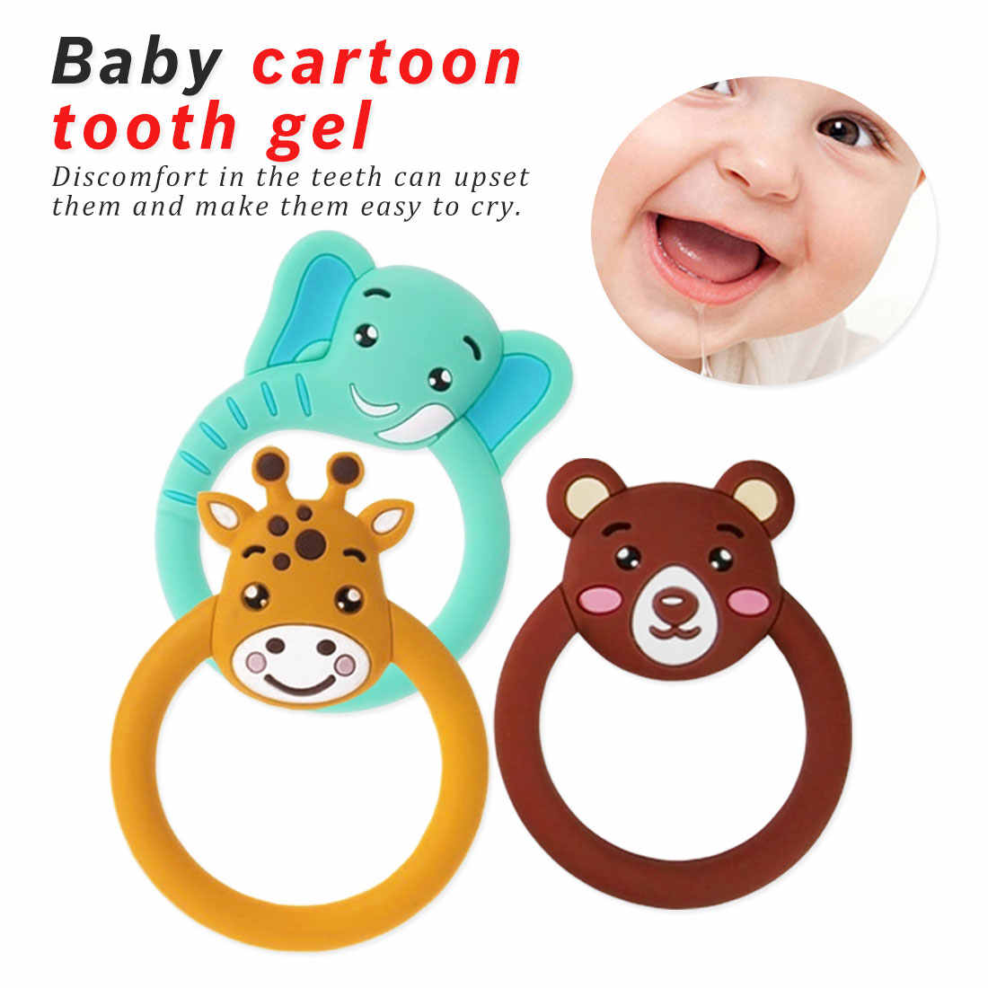 Giraffe Elephant Baby silicone Teether Pacifier Cartoon Teething Nursing Silicone BPA Free Necklace Toys