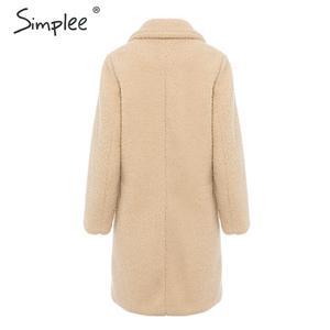 Image 2 - Simplee elegante feminino casaco de pele do falso outono inverno camelo salsicha quente casaco feminino streetwear plus size casaco de pele de escritório cordeiro