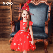 Halloween costume children's costumes Cosplay girls witch performance costumes with hats For Girls elegant dresses 1-8 vestidos(China)
