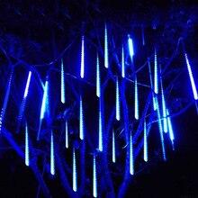 Светодиодная гирлянда «метеоритный дождь» на новый год, 30/50 см, 8 трубок, водонепроницаемая, для украшения елки, Рождества, свадьбы, вечеринки