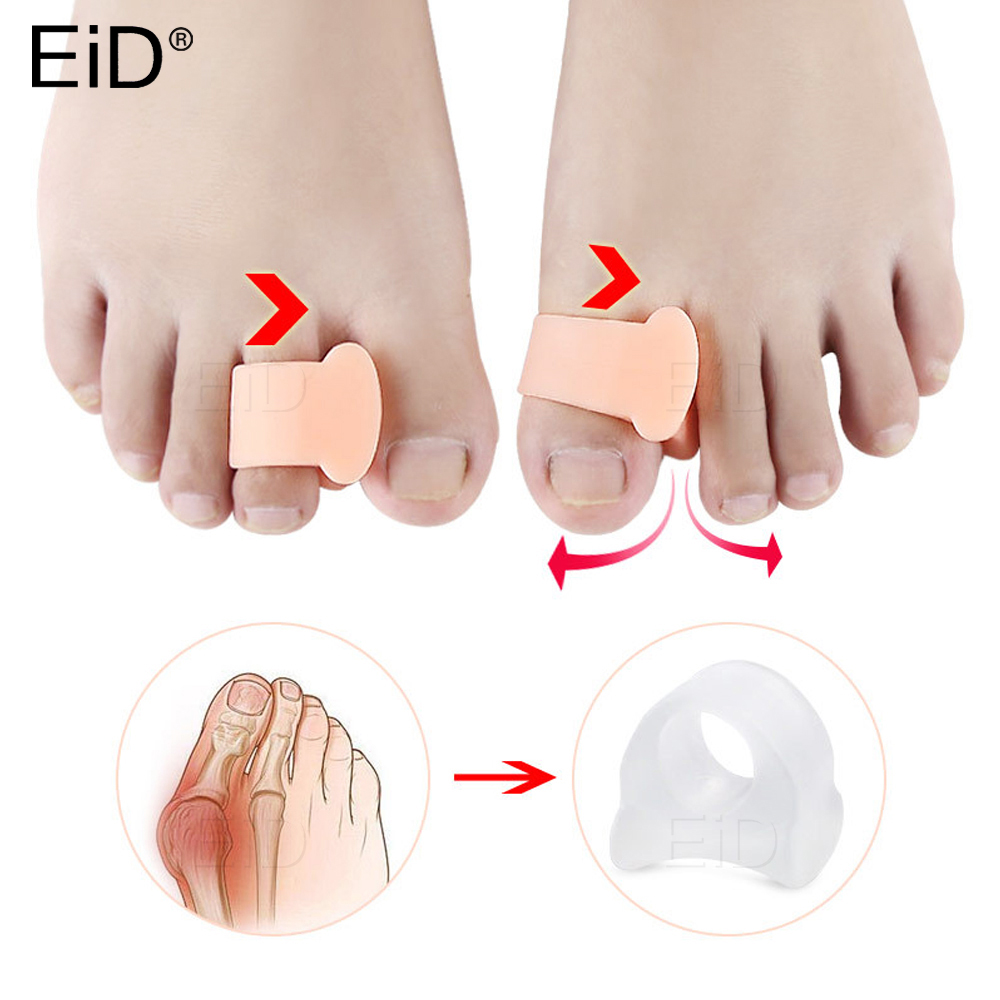 Silicone Gel Foot Toes Two Hole Toe Separator Thumb Valgus Protector Bunion Hallux Valgus Guard Feet Overlapping Pad Insert 2Pcs