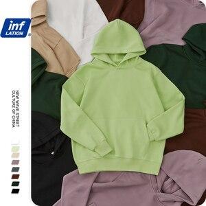 Image 5 - INFLATION Mens Comfy Pure Hoodies 2020 Autumn Fleece Oversized Hooded Sweatshirt Men Hip Hop Hoodie For Men Classic Hoody 169W