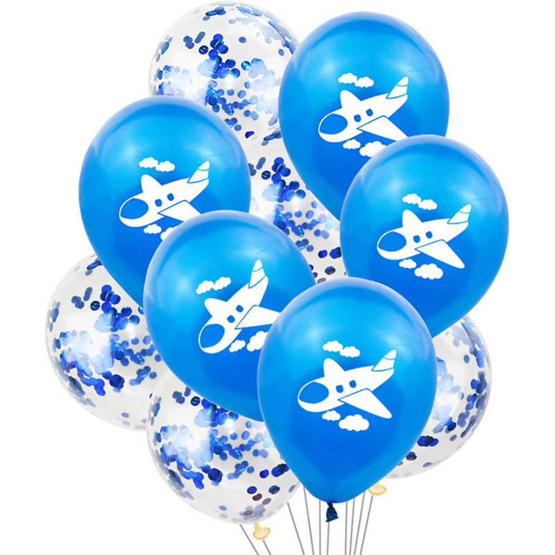 10Pcs/lot 12inch Cartoon Aircraft Latex Balloon Confetti Balloons Plane Theme Party Decor Globos Kids Birthday Airplane Air Ball image