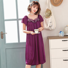 Plus size summer pajamas smooth girl pajamas nightdress skirt 8 styles of silk satin pajamas feminine nightdress(China)