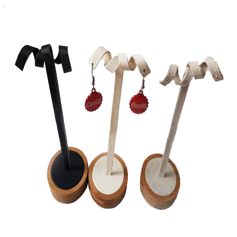 Bamboo Earring Display Holder Storage Rack Jewelry Organizer Stand Round Bottom Eardrop Shelf Jewelry Display