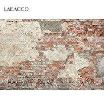 Laeacco – arrière-plan mural pour la photographie de Portrait d'enfant ou de bébé, motif de mur de briques anciennes, décor de fête