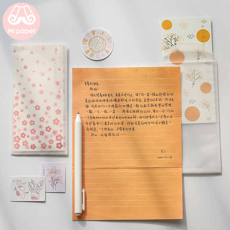 Mr Paper 4pcs/lot 6 Designs Missing Time With Love Flower Envelopes with Letter Paper Chinese Style Crane Flower Gift Envelopes 4