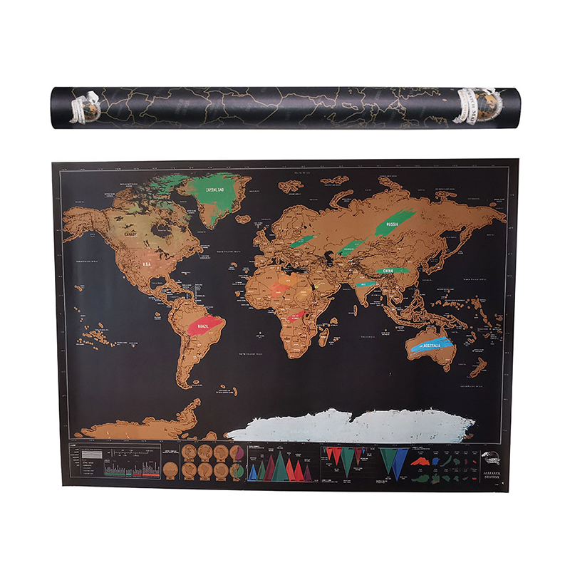 Scratch Map Erase World Barrel Travel Off World Map Travel Scratch For Map 82.5x59.4cm Room Home Office Decoration Wall Stickers