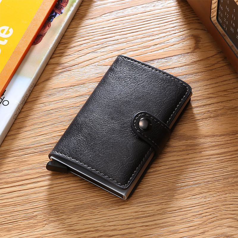 Classic Men Card Wallets For Men Bank Card Holder Solid Hasp Male Purse Small ID Men Card Wallets For Women