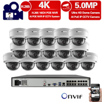 H.265 16CH 5MP 4K HD POE NVR Kit CCTV System indoor outdoor HD Dome POE IP Camera P2P Video Security Surveillance Set 4TB HDD