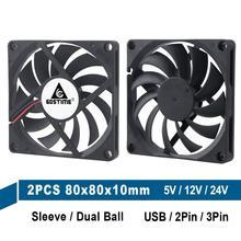 2Pcs Gdstime 80MM 5V 12V 24V 2PIN 3PIN USB 80x80x10mm 8cm 8010 Dual Ball Bürstenlosen Kühlung Kühler Lüfter Computer PC CPU Fall Fan