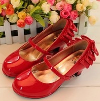 Children Girl Autumn Shoes Red PU leather Mary Janes Kids Party Birthday Shoes