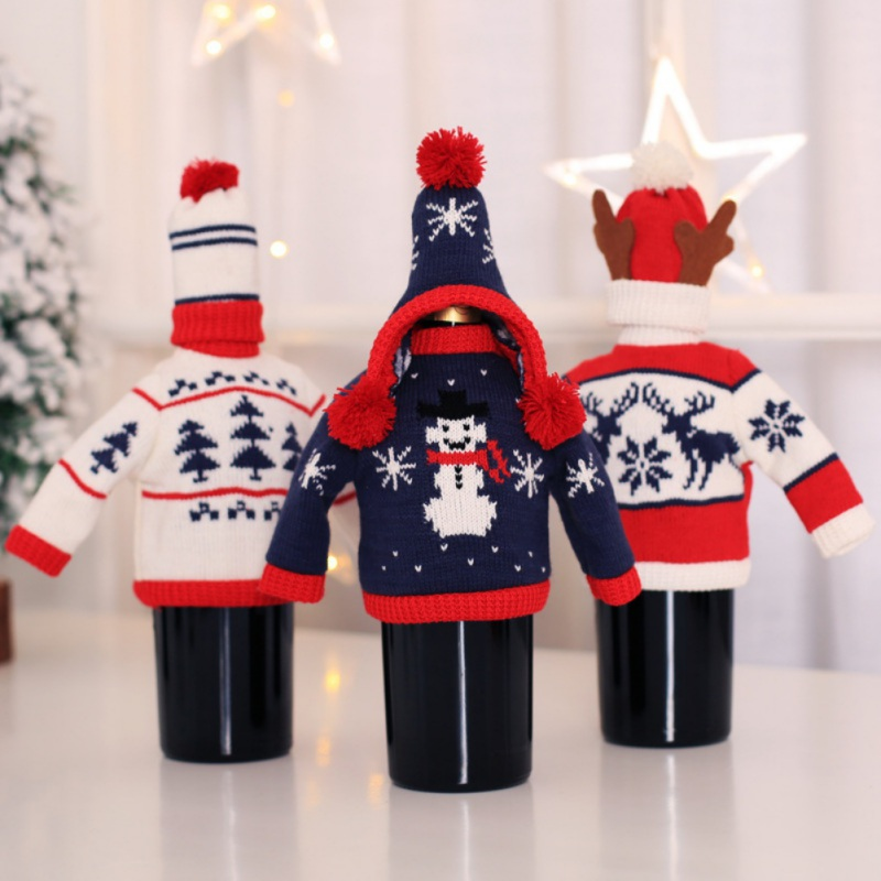 Knitted Sweater Wine Bottle Covers Holiday Cover Set Christmas Party Festival Dinner Table Decorations