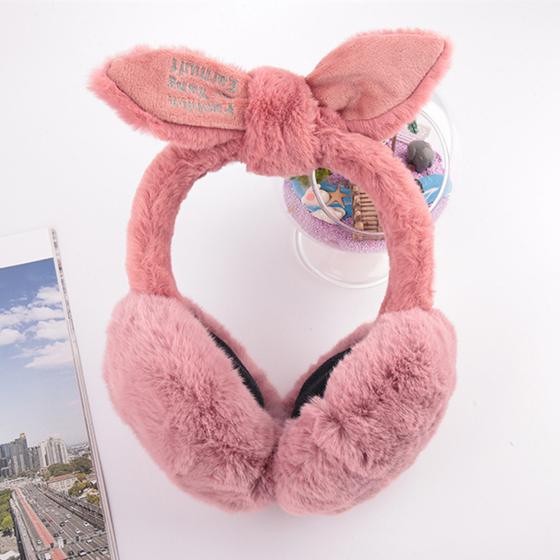 New Korean Version Of The Plush Winter Earmuffs Winter Female Cute Protective Rabbit Ears Warm Cartoon Earmuffs