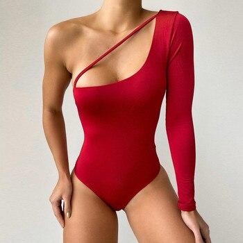Sexy algodón halter mono de un hombro ahueca hacia fuera Color sólido manga larga sin tirantes Casual erótico club mono body mujer # C