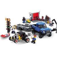 CITY SPEED CHAMPIONS Ford F 150 Raptor Model A Hot Rod Car Building Blocks Kit Bricks Classic Model Kids Toys For Children Gift