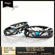 Thaya – Bague pour femme, anneaux noir brillant, bleu, zircone cubique, argent 925, bijou inspiration vintage, bohème et rétro, voie lactée, cadeau