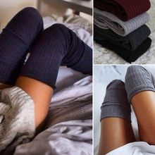 Women Stockings Solid Ladies Winter Warm Knit Over Knee Long Thigh High