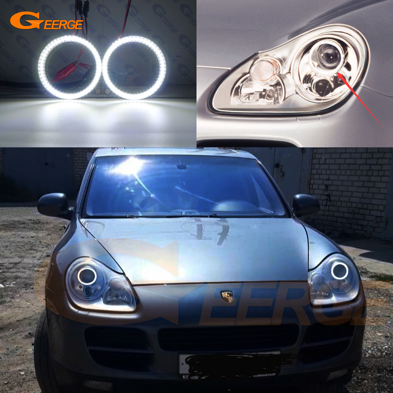 For Porsche Cayenne 955 9PA 2003-2006 Xenon Headlight Smd Led Angel Eyes Kit Day Light Excellent Ultra Bright Illumination DRL