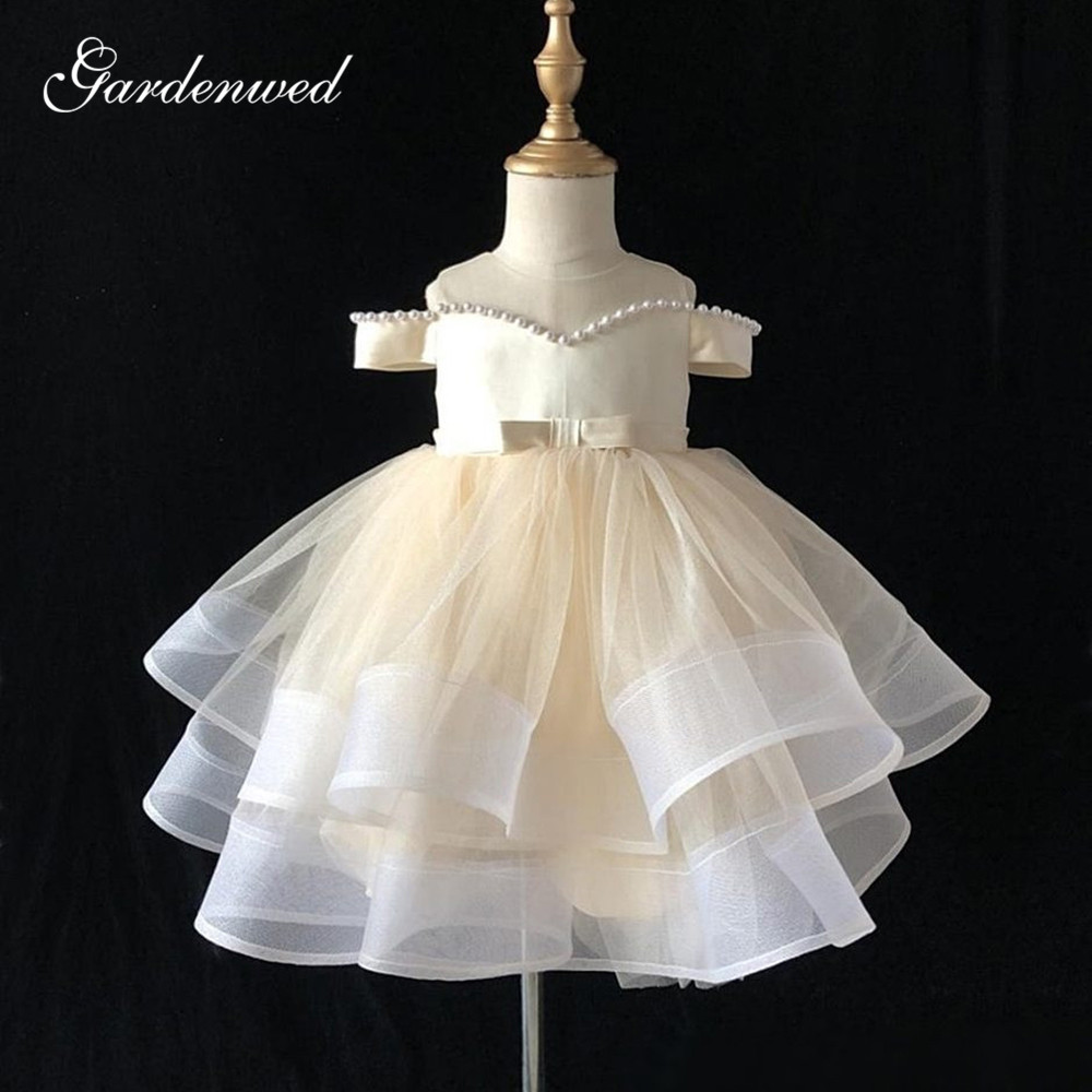 Light Champagne Pearls Flower Girl Dresses Off Shoulder Tiered Tulle Communion Dresses Big Bow Short Girl Wedding Party Dress