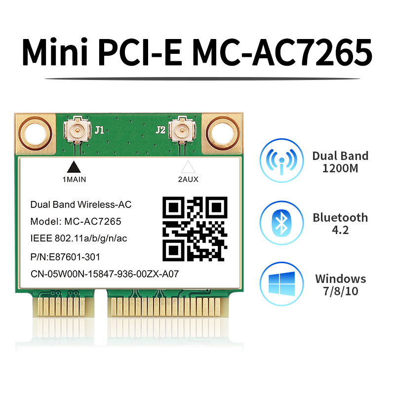 Wireless Dual Band 1200Mbps MC-AC7265 Mini PCI-E Wifi Bluetooth 4 2 Card 2 4G 5Ghz 802 11ac Adapter For Laptop Better 7260HMW