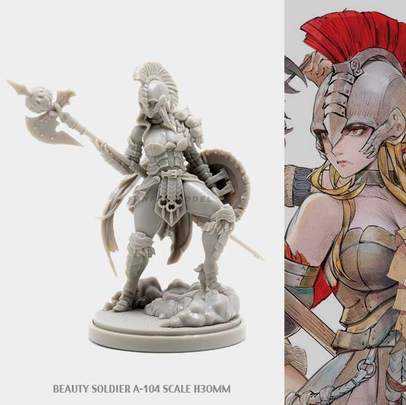 30MM KD Resin Figure Kits BEAUTY SOLDIER Goddess Series A-104