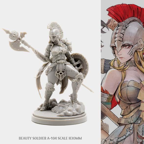 30MM KD Resin Figure Kits BEAUTY SOLDIER Goddess Series A-104