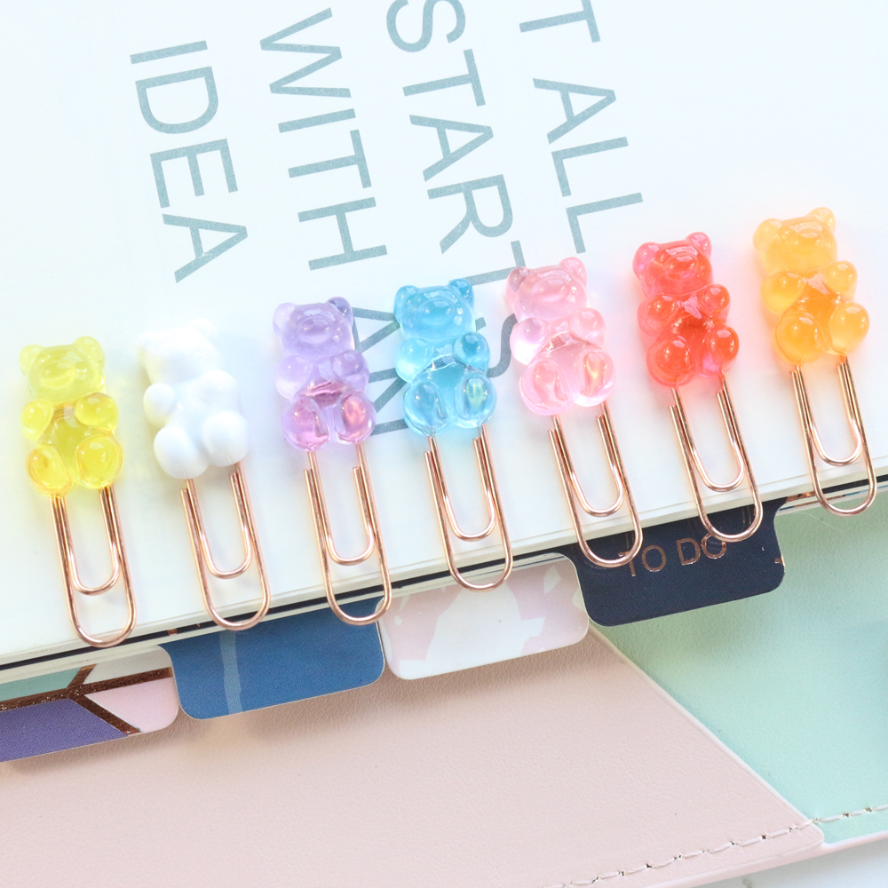 Domikee 2020 New Cute Korean Bear Shape Office School Paper Clips Set Student Candy Memo Clips Bookmark Stationery Supplies 6pcs