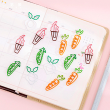 20pcs Paper Clip Note Candy Color Bookmark Creative Cute Cartoon Ins Shaped Carrot Trumpet Binder Clips Paperclips