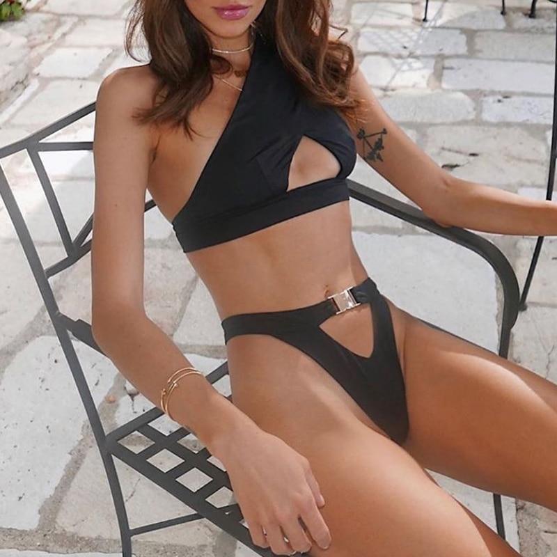 Hf5dfc1aa5b2b4105ad81f61385461f8fY In-X One shoulder bikini 2019 Buckle high cut swimsuit Sexy thong bikini Hollow out bathing suit White push up swimwear women