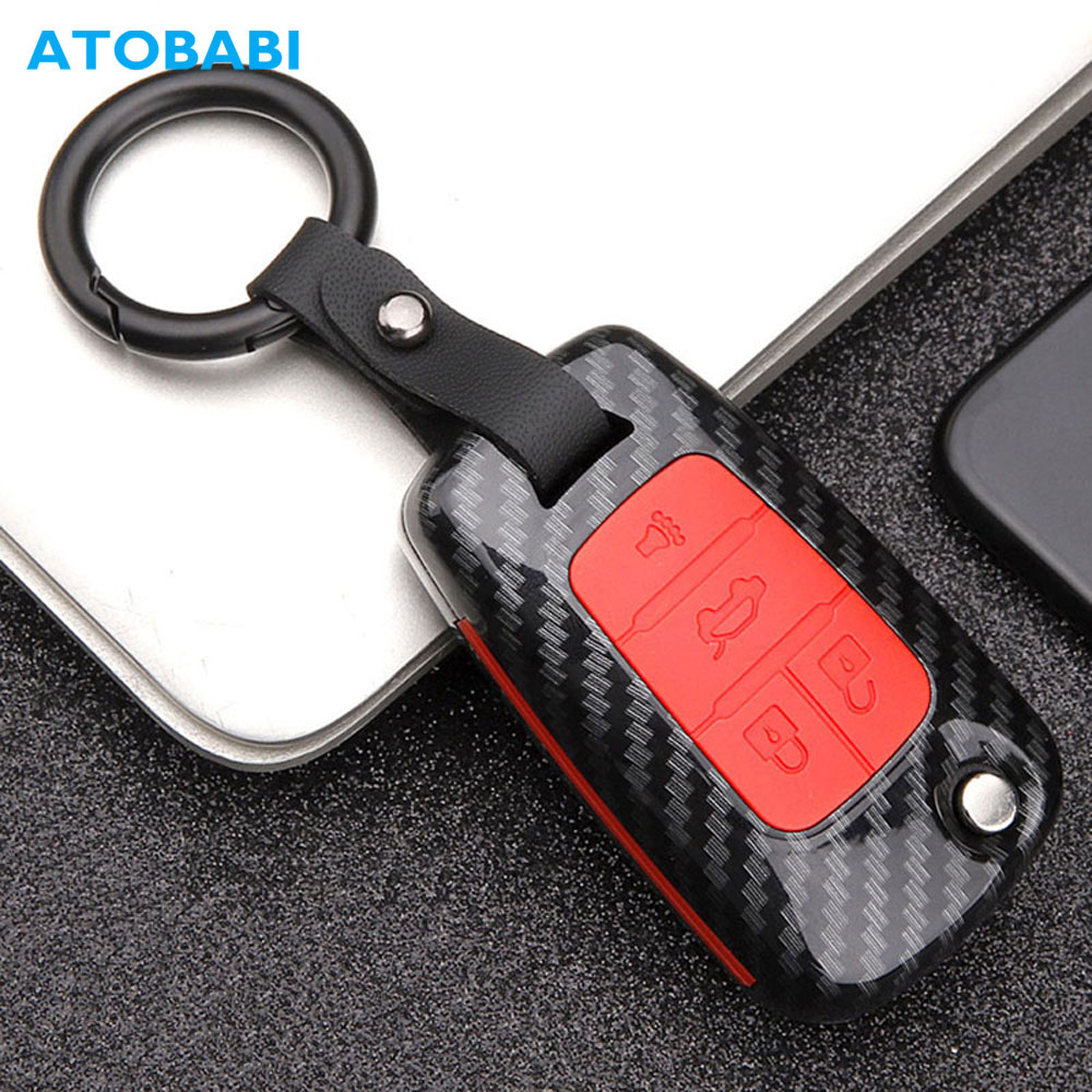 Carbon Car Key Case For Chevrolet Cruze Traverse Spark Sonic Malibu Impala Equinox Camaro Keychain Bag Remote Fob Protect Cover