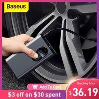 Baseus-Bomba de aire portátil para inflar las ruedas del coche, inflador inteligente de aire comprimido, dispositivo digital para detección automática de presión en neumáticos, apto para automóvil, bicicleta y moto