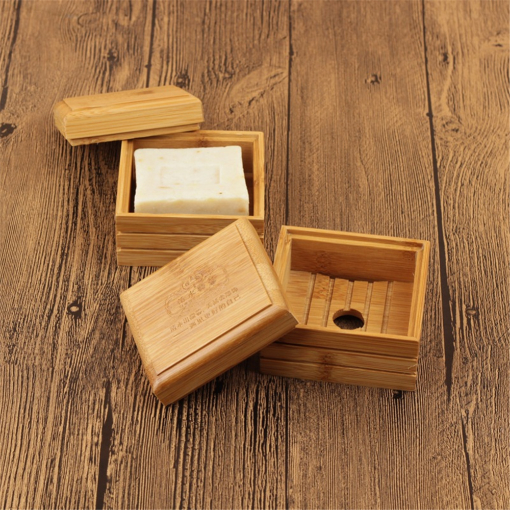 Bathroom Shower Soap Case Holder Bamboo Wooden  Soap Storage Dish Kitchen Cleanin Container Box Soap Tray With  Cover