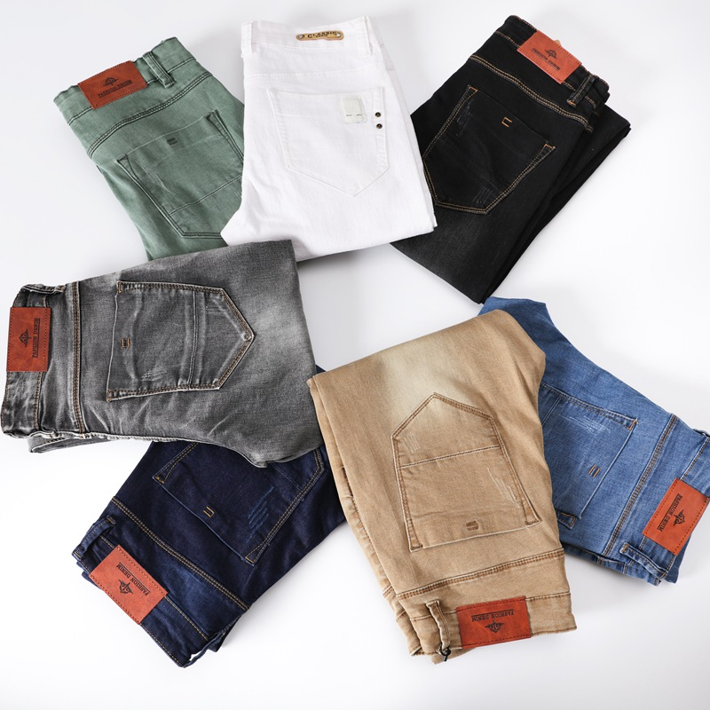 Men Stretch Skinny Jeans 7 Color Fashion Casual Slim Fit Denim Trousers Male Gray Black Khaki White Pants Size 29-38