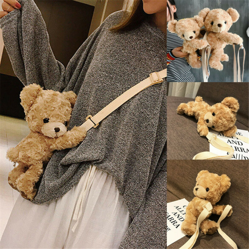 Pudcoco Cute Bag Fashion Kawaii Toddler Kids Baby Girls Cute Smile Bear Soft Plush Doll Bag Lolita Handbag Animal Shoulder Bag
