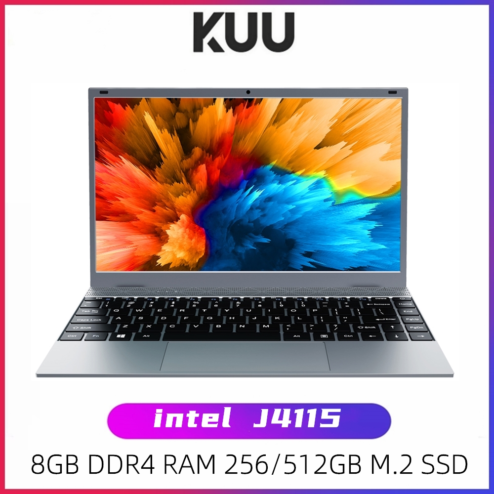 KUU XBOOK 14 1 Inch 8GB DDR4 RAM 128G 256G SSD Windows 10 laptop Intel J4115 Quad core Backlight Keyboard Student Notebook