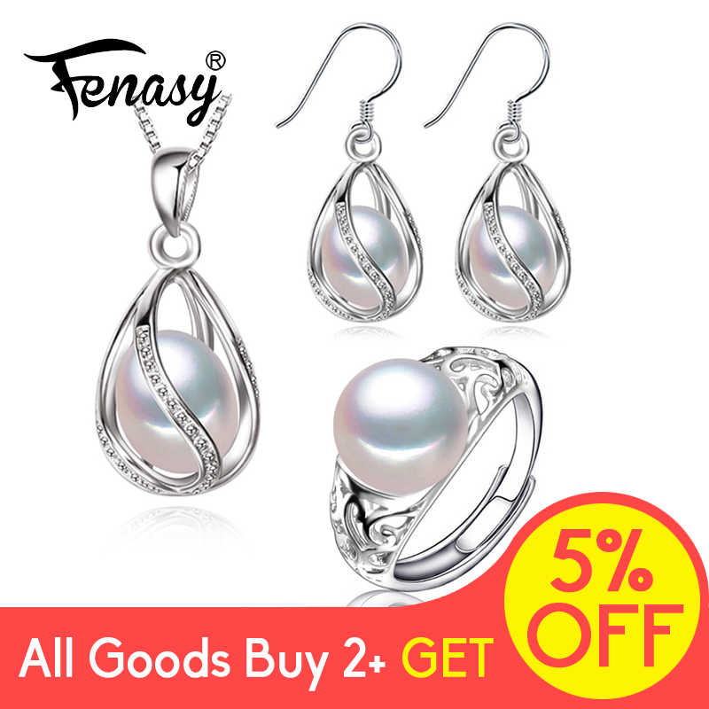 FENASY 925 Sterling Silver Set Freshwater Pearl Jewerly Sets For Women Cage Earrings Necklace Set Hollow Vintage Adjustment Ring